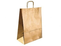 Bolsa Q-Connect kraft asa retorcida oro 270x120x360 mm.