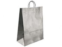 Bolsa Q-Connect kraft asa retorcida plata 420x190x480 mm.