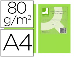 500h papel fotocopiadora Q-Connect A4 80g/m² color verde neón
