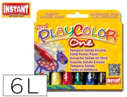 tempera solida en barra playcolor escolar caja de 6 colores surtidos