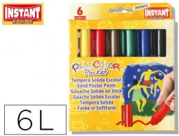tempera solida en barra playcolor pocket escolar caja de 6 colores surtidos