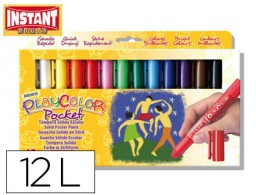 tempera solida en barra playcolor pocket escolar caja de 12 colores surtidos