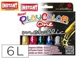 tempera solida en barra playcolor escolar caja de 6 colores metalizados surtidos