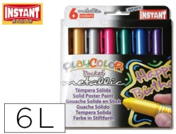 tempera solida en barra playcolor pocket escolar caja de 6 colores metalizados
